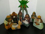 Nativity Set Scene 9 Piece Hand Carved With Palm Tree Candle Holder