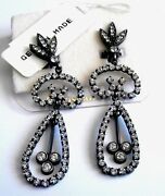 Christian Dior Signed Clip Earrings Gun Metal Plated Set With Clear Crystals