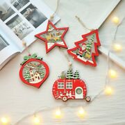 Christmas Holiday Decorations Wooden Ornament Xmas Tree Hanging Pendant With Led