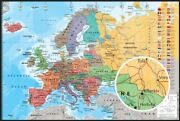 Political Map Of Europe - Framed Poster English Version Size 36 X 24