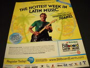 Juanes Does The Superstar Qanda For Latin Week 2007 Promo Poster Ad Mint Cond