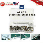 For Boat Canvas Cover Metal Steel Screw Snap Fastener Kit Press Studs 62pcs