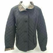 Nwt Liz Claiborne Womens Quilted Jacket Black Leopard Print Collar Lined Large L