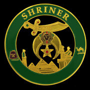 Shriner Green And Gold Car Emblem Badge - 2.75 Round Shriners Car Accessory