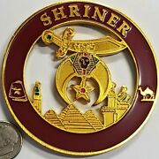 Shriner Maroon And Gold Car Emblem Badge - 2.75 Round Shriners Car Accessory