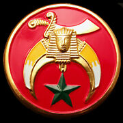 Shriner Red And Gold Car Emblem Badge - 2.75 Round Shriners Accessory