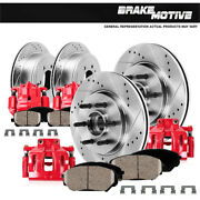 Front+rear Red Brake Calipers And Rotors And Pads For 2004 Ford F150 Rwd Stx Xl Xlt
