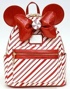 New Disney Loungefly Christmas Holiday Peppermint Candy Cane Mini Backpack 2020