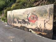 Antique Wells Fargo Large Wall Mural Oil Painting Art Western Stagecoach 3 Piece