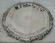 Vintage F.b.rogers Silver Co.1883 Round Ornate Serving Tray Flower Leaf Scroll
