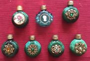 7antique Small Green Vintage Bottles From Czech Glass Handmade In 1930s-1960s