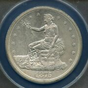 1875-s Trade Silver Dollar Chopmarked Graded Anacs Au-55 Details