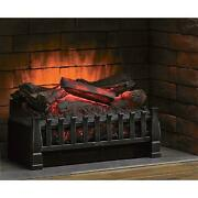 20 In. Electric Fireplace Log Set Heater With Realistic Ember Bed In Bronze