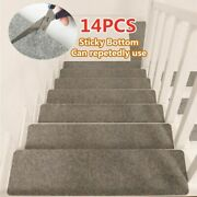 14pcs Stair Tread Carpet Mats Step Non-slip Staircase Protection Cover Pads Home