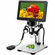 7 Inch Coin Microscope, Elikliv 1080p Lcd Digital With Wired Remote, 1200x Video