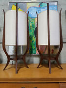 Mid-century Sculpted Wood Lamps By Modeline - A Pair