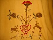 Antique 19thc Loom Woven Wool Blanket Embroidered Deer Red Green Wheat Aafa