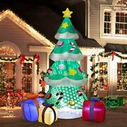 Christmas Inflatable Tree Gift Boxes Lights Snowflake Effect Outdoor Decorations