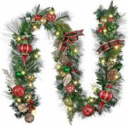 Traditional Red Green Gold Christmas Garland Mantel Batteries Indoor/outdoor Led
