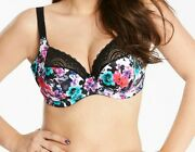 Elomi Jenna Bra Size 36f Black White Floral Underwired Side Support Plunge 4040