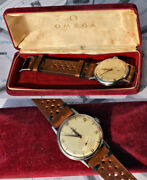 Rare Watch Omega Case Big Cal.265 Manual Winding Steel 50and039s With Box