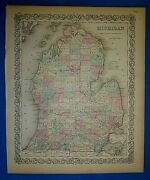 Vintage 1859 Colton's Atlas Map Michigan Old Antique And Authentic Free Sandh