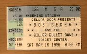 1996 Bob Seger And The Silver Bullet Band Minneapolis Concert Ticket Stub