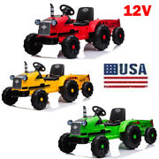 12v Electric Car Kids Ride On Tractor Ground Loader Toy Remote Control W/led Mp3