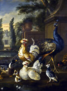 Framed Canvas Art Print Painting Wild Fowls Peacock Chickens Birds Old Masters