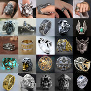 Fashion Women Men Vintage Gothic Punk Skull Ring Cool Menand039s Band Rings Jewelry