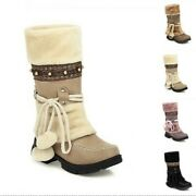 Sweet Grils Womenand039s Outdoor Faux Fur Pom Pom Winter Warm Snow Mid-calf Boots B