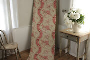 Vintage French Fabric Panel Linen Cotton Mix 18th Century Style 1950and039s Pink