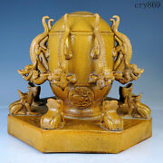 12.5collection Old China Antique Tang Dynasty Yellow Glaze Seismograph