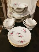 Royal Kent China From Poland Pink Rose Collection Set Plates Bowels Cups