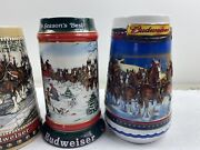Huge Lot Of Rare 4 Budweiser Beer Holiday Horse Authentic Collector Mugs Cups