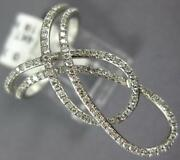 Estate Large .37ct Diamond 14kt White Gold 3d Classic Double Love Knot Fun Ring