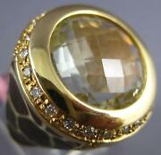 Large 8.90ct Diamond And Aaa Green Amethyst And Enamel 14kt Yellow Gold Panther Ring