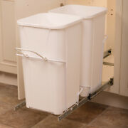 Double Waste Bin Pull Out For 12 Inch Wide Cabinet 2-27 Quart Trash Can Rollout