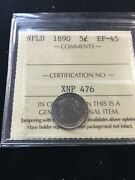 1890 Iccs Graded Newfoundland Five Andcent5 Cent Ef-45