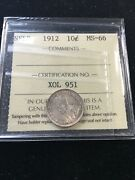 1912 Iccs Graded Newfoundland Andcent10 Ten Cent Ms-66