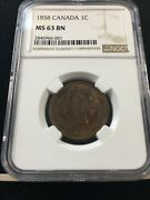 1858 Ngc Graded Canadian Large One Cent Ms-63