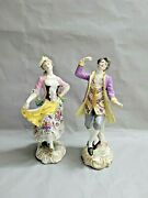 Pair Of 2 Antique French Marx Eugene Clauss Porcelain Figurines 13and039and039 T