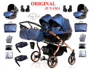 Junama Fluo Line Duo Twin Pram 2in1 3in1 Carrycot+ Pushchair + Car Seat + Isofix