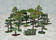 Antique Cast Lead/metal Trees Scenery Setting For Model Railway Or Hobby Games