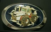 Case 2870 Traction King 4wd Tractor Blue Cloisonne Collectible Belt Buckle Farm