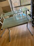 Tema Furniture Pair Of Glass Top Metal Office Desks - Good Condition