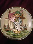 1 New Vintage V. Tiziano 1977 Valentine's Day Plate Hand Painted Etched 7.5 W