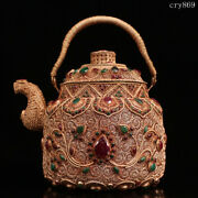 7.6collection Old Antique Tibet Handmade Pinching Silk Inlaid With Gems Teapot