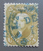 Us 1861 5andcent Rare Olive Yellow Stamp 67b With Blue Town Cancel And Cert Cv 4750