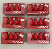 6 Packs Vintage Noma 4 Count Christmas Light Bulbs 7 1/2 Indoor Outdoor - Red